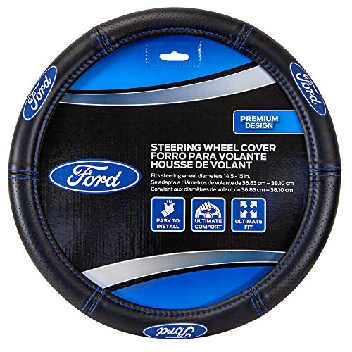 Plasticolor 006692R01 Ford Deluxe High Contrast Stitching Premium Steering Wheel...