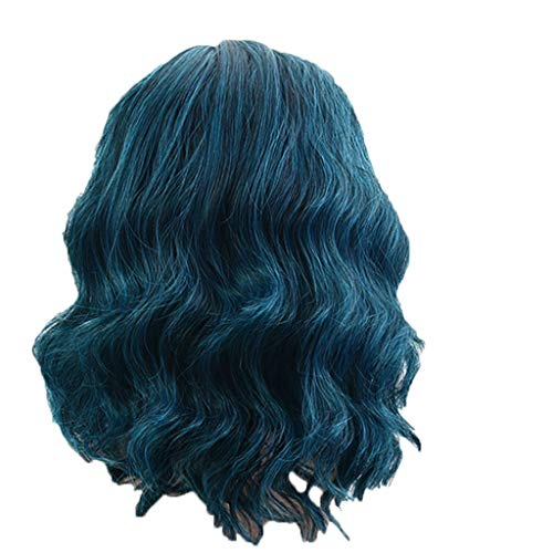 Mode Pfau Blau Natürliche Lockige Perücke, Damenmode Perücke Blau Synthetische Haar Kurze Perücken Lockige Perücke