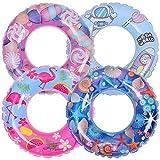 OBANGONG 4 Pack Inflatable Pool Floats Kid Cartoon Swim Tube Rings,Pool Inner Tubes Durable Pool Ring Toys for Kids Summer Beach Swimming Pool Supplies