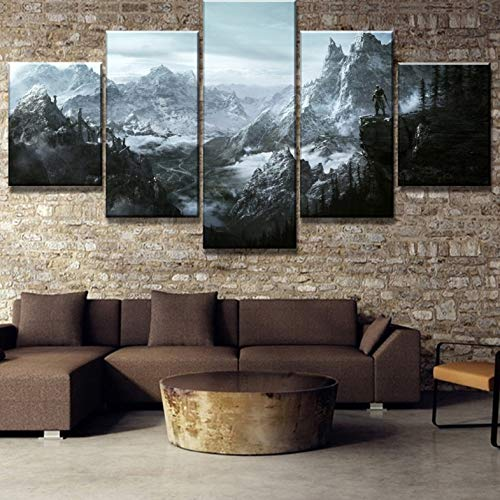 Rjbzd Wohnkultur Modulare Leinwand Bild 5 Stück Skyrim Spiel Malerei Poster Wand Für Home Leinwand Malerei