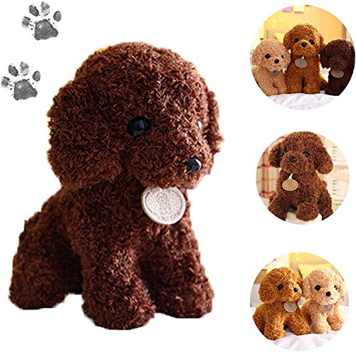 Radrdior Realistic Teddy Dog Lucky Stuffed Plush Doll Kid Gift Christmas,Teddy Bear VIP Patrol Pets Cuddly Toys Birthday Baby Gifts Girl 10inch Brown