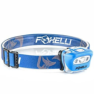 Foxelli Headlamp Flashlight - 165 Lumen, 3 x AAA Batteries Operated, Bright White Cree Led + Red Light, Perfect for Runners, Lightweight, Waterproof, Adjustable Headband, 3 AAA Batteries Included