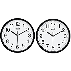 HIPPIH Black Wall Clock, Silent Non-Ticking Quality Quartz Battery Operated Wall Clock - 10 Inch Round Easy to Read Decorative for Home Office School