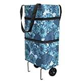 Foldable shopping cart with wheels, foldable grocery bag (Blue)