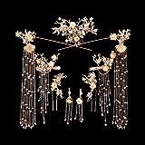 Hibye Bride Retro Chinese Style Hair Ornaments Tassel Women Wedding Headdress Earrings Set Han Clothing Accessories