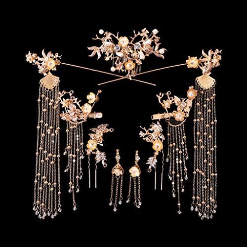 ABBY -J Bciou Bride Retro Chinese Style Hair Ornaments Borla Mujeres Boda Tocado Pendientes
