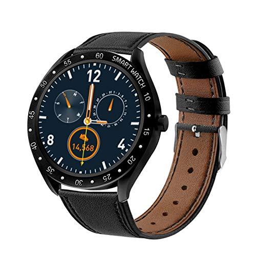 F13 Full Screen Touch Men Steel Smart Watch Sports Heart Rate Pedometer Fitness Tracker Waterproof IP68 Smart Watch (Black Leather)