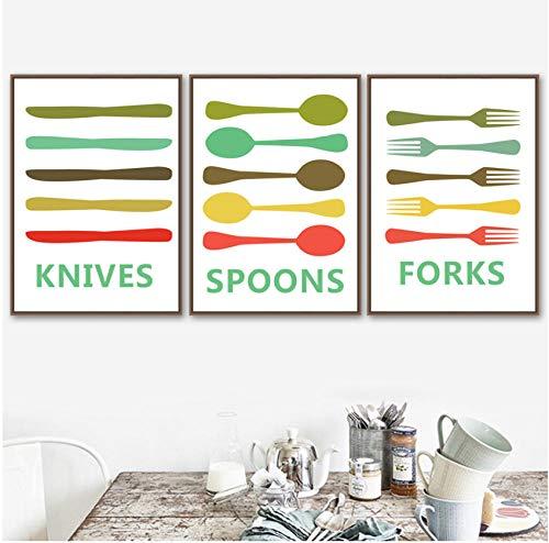 Kleurrijke Mes Lepel Vork Quotes Wall Art Canvas Schilderij Nordic Posters En Prints Muur Foto 'S Voor Eetkamer keuken Decor 40X50cmx3pcs frameloze