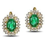 Epinki 18k Oro Pendientes para Mujer óvalo Pendiente Señoras Joyería Tarde Oro con Blanco Verde Diamante Esmeralda