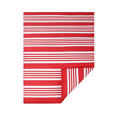 JBGO Reversible Woven Outdoor Rug, 5' x 7' Lightweight Large Plastic Striped Stain Proof Indoor Area Runner Mat for Deck Patio Camping Beach Picnic BBQ, Red and White Stripes