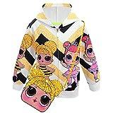 ALAMing LOL Surprise Kapuzenjacke, modisch, bedruckt, für Mädchen, Herbst-,Wintermantel, Jacke, Kinderbekleidung Gr. 4-5 Jahre, style22