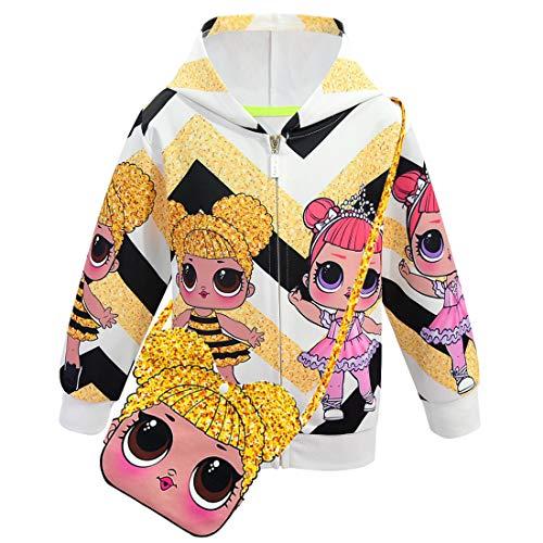 ALAMing LOL Surprise Kapuzenjacke, modisch, bedruckt, für Mädchen, Herbst-,Wintermantel, Jacke, Kinderbekleidung Gr. 9-10 Jahre, style22