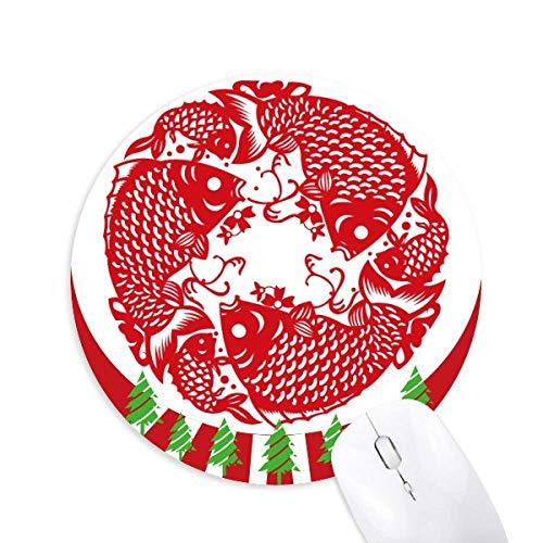 Schneiden von Papier Fisch Festrund Gummi Maus Pad Weihnachtsdekoration