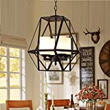 Warm Home Fashion - Lámpara de techo (4 fuentes de luz, 40 x 40 x 40 cm), color negro