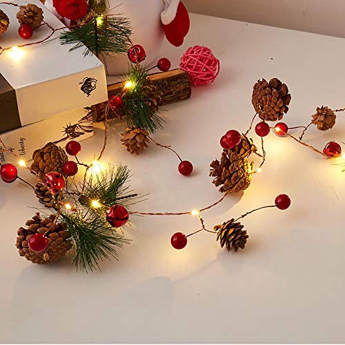 ABETER Christmas Pine Cone Light String Pine Needles red Berry Copper Wire String Lights, Used for Christmas Holidays Indoor and Outdoor Table Party Decoration (Christmas Pine Cone Light String)