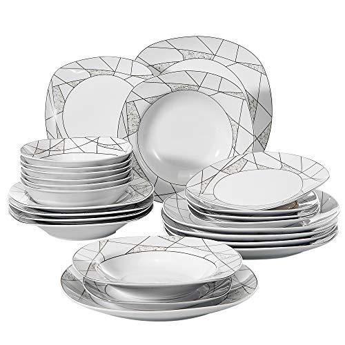 VEWEET Serena Juegos de Vajillas 24 Piezas de Porcelana con 6 Cuencos de Cereales, 6 Platos, 6 Platos de Postre y 6 Platos Hondos para 6 Personas