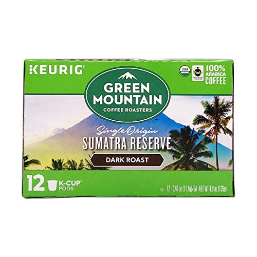Green Mountain Coffee Organic K-Cup, Sumatran, 12-Count, Packaging may Vary