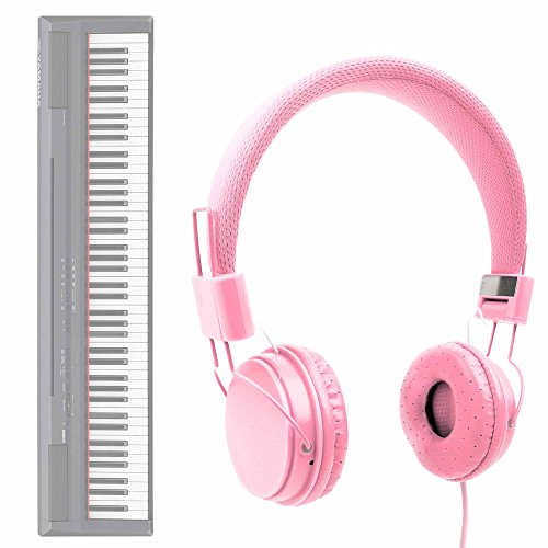 DURAGADGET Auriculares De Diadema En Rosa para Teclado/Piano Eléctrico Yamaha NP-V80 NPV-80, Yamaha P-105B, Yamaha P-115B, Yamaha P-115WH, Yamaha P-45B