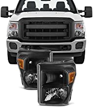 For Black 11-16 Ford F250/350/450/550 Superduty Pickup Truck Headlights Lamps Direct Replacement Pair