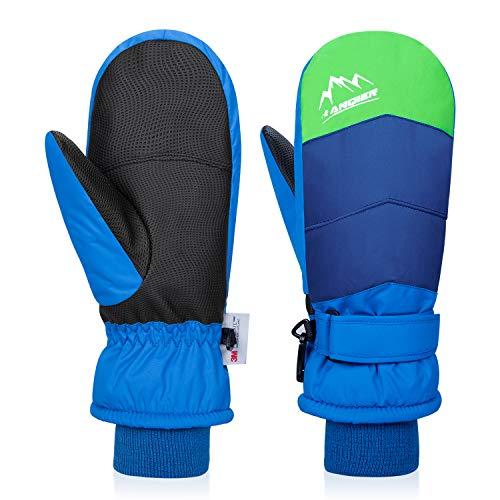 anqier Handschuhe Kinder Wasserdicht Winddicht Warm Skihandschuhe für Junge Mädchen Winterhandschuhe zum Radhandschuhe Laufen