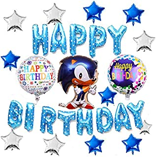 16PCS Sonic the Hedgehog Balloons Birthday Party Decorations, Happy Birthday Banner Foil Balloon for Kids Baby Shower Birt...