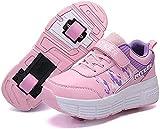 XPF Laufschuhe Sportschuhe Mit Rollen, Kinder Schuhe Mit Rollen, Mode Rollenschuhe Skateboardschuhe Kinder Schuhe Mit 2 Rollen, Für Kinder Mädchen Junge Erwachsene,Pink-35