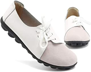 KISFLY Leather Loafers for Women Comfort Walking Driving Flat Shoes White Size: 8