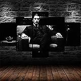 TOPRUN Cuadros Decoracion Salon Modernos 5 Piezas Lienzo Blanco y Negro El Padrino Al Pacino HD Abstracta Pared Modulares Sala De Estar Impresión Artística Dormitorios Decoración De Pared Póster