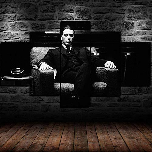 CDSWER Cuadro Lienzos Decorativos 5 Piezas Cuadros Decoracion Salon Modernos Grandes Dormitorios XXL Impresión Pintura Arte,Blanco Y Negro El Padrino(Marco,59X32Inch)