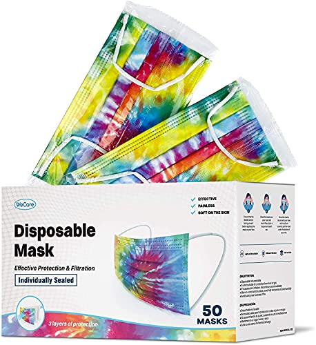 WeCare Disposable Face Mask Individually Wrapped - 50 Pack, Tie Dye Masks 3 Ply