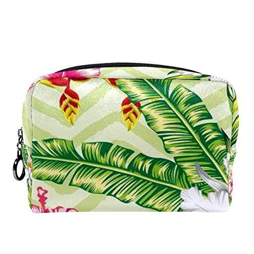 Banane tropicale, feuilles de palmier et fleurs Hibiscus orchidée de maquillage Trousse multifonction portable organiseur de toilette pour voyage Couleur 01 7\