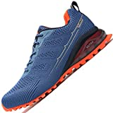 LZDZN Men's Air Cushion Road Running Shoes Breathable Woven Lightweight Fashion Walking Athletic Marathon Sneakers with Reflection Strip