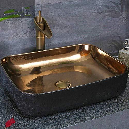 ZLXLX Badkamerwastafel Aanrechtblad Chinees porselein Keramische Art Basin Badkamer wastafel kom van goud met zwarte kleur
