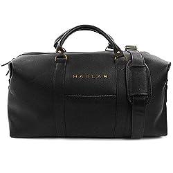 Reisetasche, Schwarz – Weekender Handgepäck Duffel Travelbag [Messing Verzierung] - 23,6 Liter