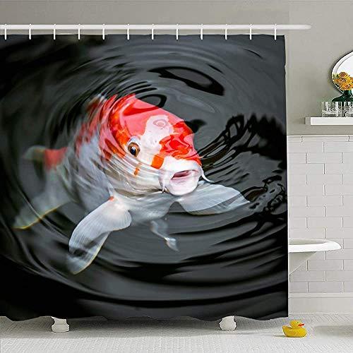 Hotyle Duschvorhang mit Haken 72X72 Ammoniakspiegel Japan Sanke Fisch Koi Karpfen Weißes Essen im Teich Nitrat Tiere Wildlife Parks Outdoor