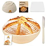 9 Inch Bread Banneton Sourdough Proofing Basket Set with Bread Lame, Dough...