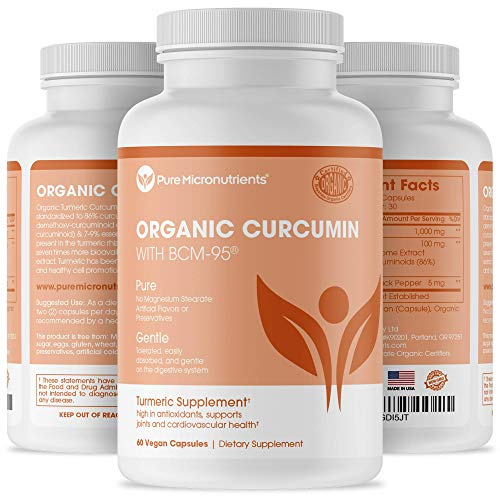 Organic Turmeric Curcumin BCM-95 Supplement + Black Pepper - Vegan 60 Veg. Capsules, 1000mg - Pure Micronutrients