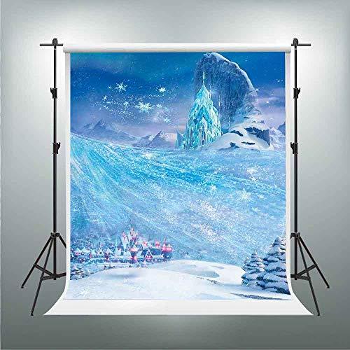 GESEN Frozen Backdrop for Princess 5x7FT Ice Kingdom Crystal Castle Photo Background Children Kids Birthday Party Decoration Banner Photo Studio Props LSGE1608