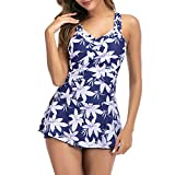Zando Women One Piece Swimdress Tummy Control Swim Dress Swimwear Slimming Skirt Swimsuits Bathing Suit Dress Flower Print Blue X-Large (fits like US 12-14)