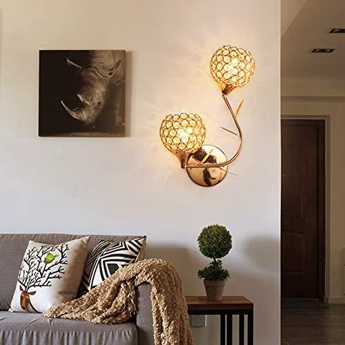 Lámpara de Pared de Cristal Moderna Luz de Pared para Iluminación del Aplique Interior Sala de Estar Pasillo Cabecera, Luces de Decoración E27 * 2, Luz de Espejo,Dorada
