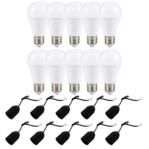 10 x LED Leuchtmittel 12W = 75W E27 matt 1055lm warmweiß + 10 x Baufassung Renovierfassung Lampenfassung (schwarz)