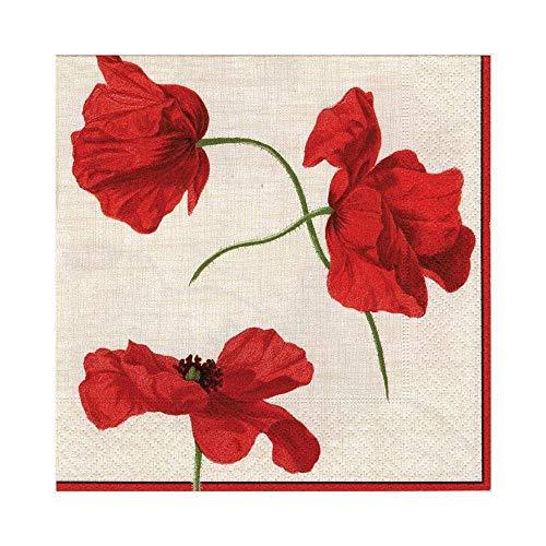 Caspari Entertaining e Caspari - Tovaglioli di carta, confezione da 20 pezzi, motivo Dancing Poppies, avorio
