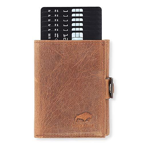 NEU: SOLO PELLE® Slim Wallet mit Münzfach [12 Karten] Slimwallet Riva [RFID-Schutz] Kartenetui mit Münzfach [Leder] Smart Wallet für Männer und Damen (Vintage Braun)