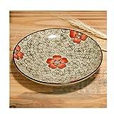 Fengshop Essteller aus Keramik, Blumenmuster, rund, für Desserts, Snacks, Bohnen, glasierte Teller,...