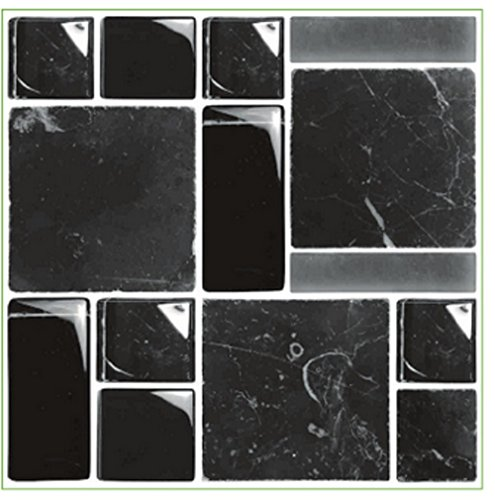 LPS Pack of 10 Black stone marble effect multi Mosaic tile transfers stickers transfers stick on wall tile peel and stick kitchen bathroom