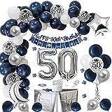 Globos Cumpleaños 50 Años Hombres, Decoraciones de Cumpleaños Azul Plata 50er Cumpleaños con Pancarta Feliz Cumpleaños Globo Numero 50 para Adultos Decoración de Fiesta