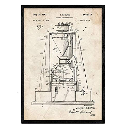 Poster Nacnic patent koffiemachine. Blad met oud designoctrooi op A3-formaat en vintage achtergrond