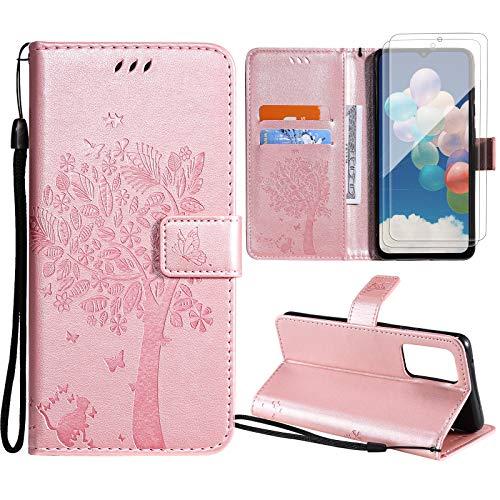 Oududianzi Cover per Samsung Galaxy A52 5G + [ 2 x Vetro Temperato ] Flip Portafoglio Custodia Pelle PU Case [Slot Cart] [Chiusura Magnetica] [Funzione Stand] -Oro Rosa