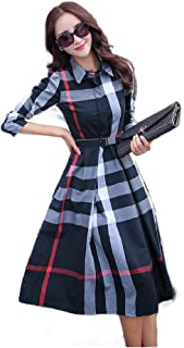 Howely Women Long Sleeve Plaid High Waisted V-Neck Floral A Line Dress with Belt