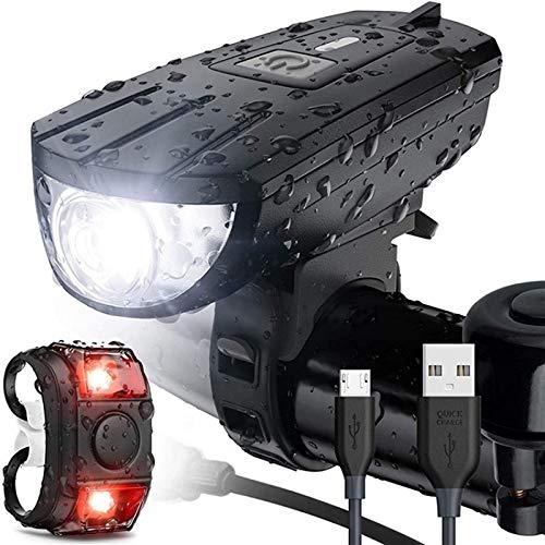 SAFGH Linterna de luz de Bicicleta Recargable por USB, lámpara Frontal LED MTB, Linterna Ultraligera, Accesorios de Bicicleta para Ciclismo a Prueba de Agua